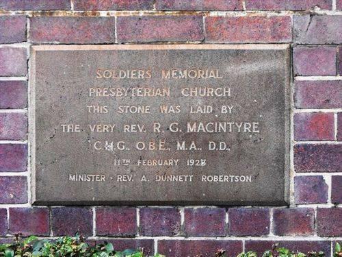 Soldiers Memorial Presbyterian Church Inscription