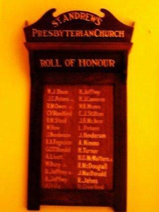 St Andrews Presbyterian Church Roll of Honour