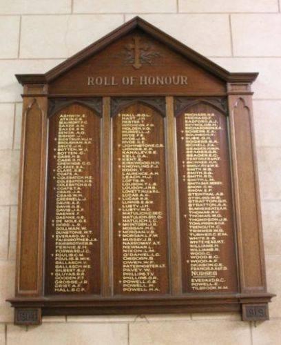 St Augustine Anglican Church World War One Honour Roll : 11-December-2012