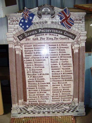 St David`s Church Marble Honour Roll