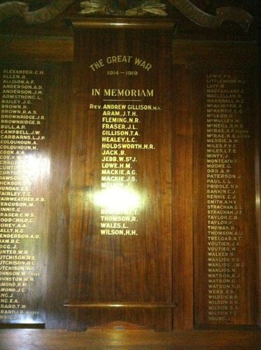 St George`s Uniting Church World War One Roll of Honour  : 14-July-2012