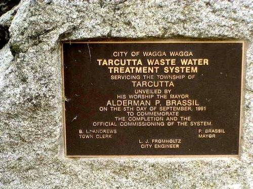 Tarcutta Waste Water System Inscription Plaque