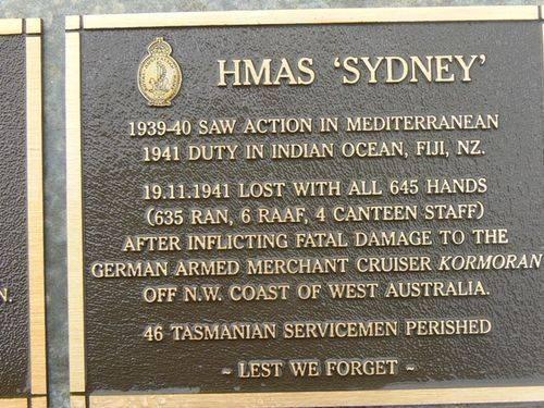Naval Plaque HMAS Sydney : 2007