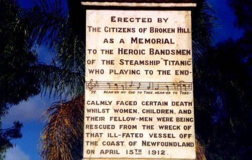 Titanic Bandsmen Memorial Inscription Front