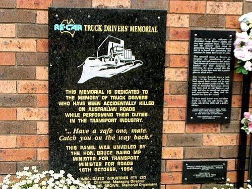 Truck Drivers Memorial Dedication Plaque