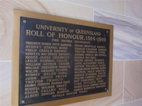 UQ Roll of Honour WW1 : 04-08-2013
