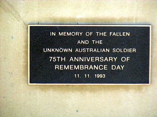 Unknown Soldier Plaque : 2007