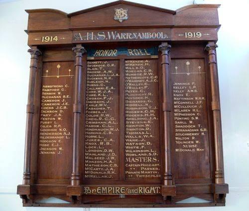 Warrnambool College Honour Roll # 1 : 02-November-2011