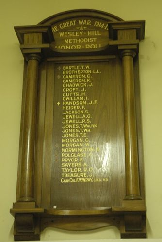 Wesley Hill Methodist Roll of Honour : 09-June-2013