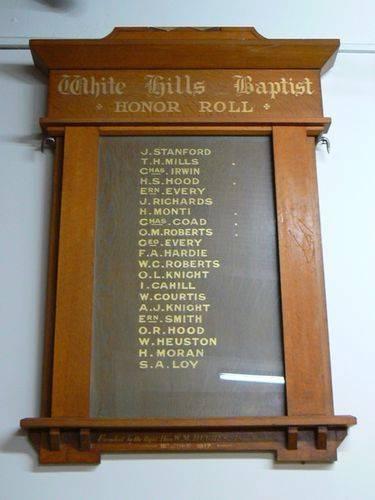 White Hill Baptist Church Honour Roll  08 Nov 2009