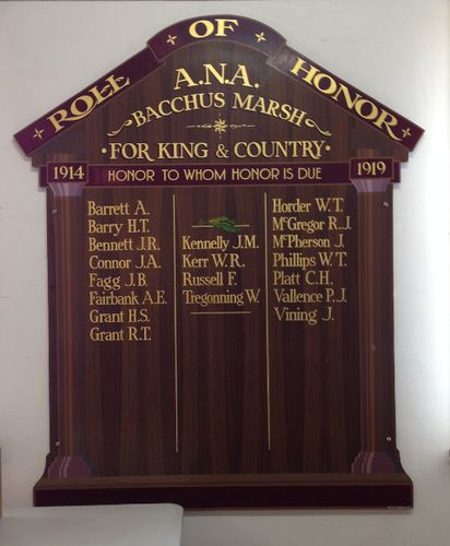 Bacchus Marsh ANA Honour Roll : October 2013