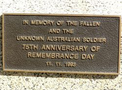 Remembrance Day Plaque : 11- September-2014