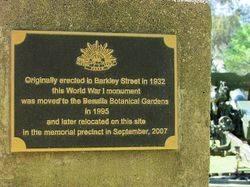 War Memorial Plaque: 13-October-2015