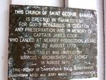 Church of Saint George Cook Plaque : 23-07-2013