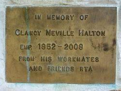 Clancy Halton Plaque : 10-September-2014