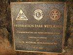 Wetlands Plaque Inscription : May 2014