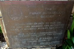 Forby Sutherland Garden Plaque : 14-August-2014