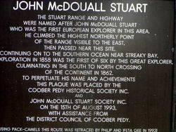 McDouall Stuart Plaque : 2004