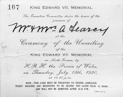 July-1920 : Invitation to unveiling : State Library of South Australia - PRG-280-1-26-18