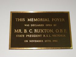 Memorial Foyer Plaque : 30-October-2014
