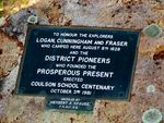 Logan /Cunningham /Fraser & District Pioneers Plaque:Oct 2010