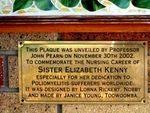 Sister Kenny Mural Inscription